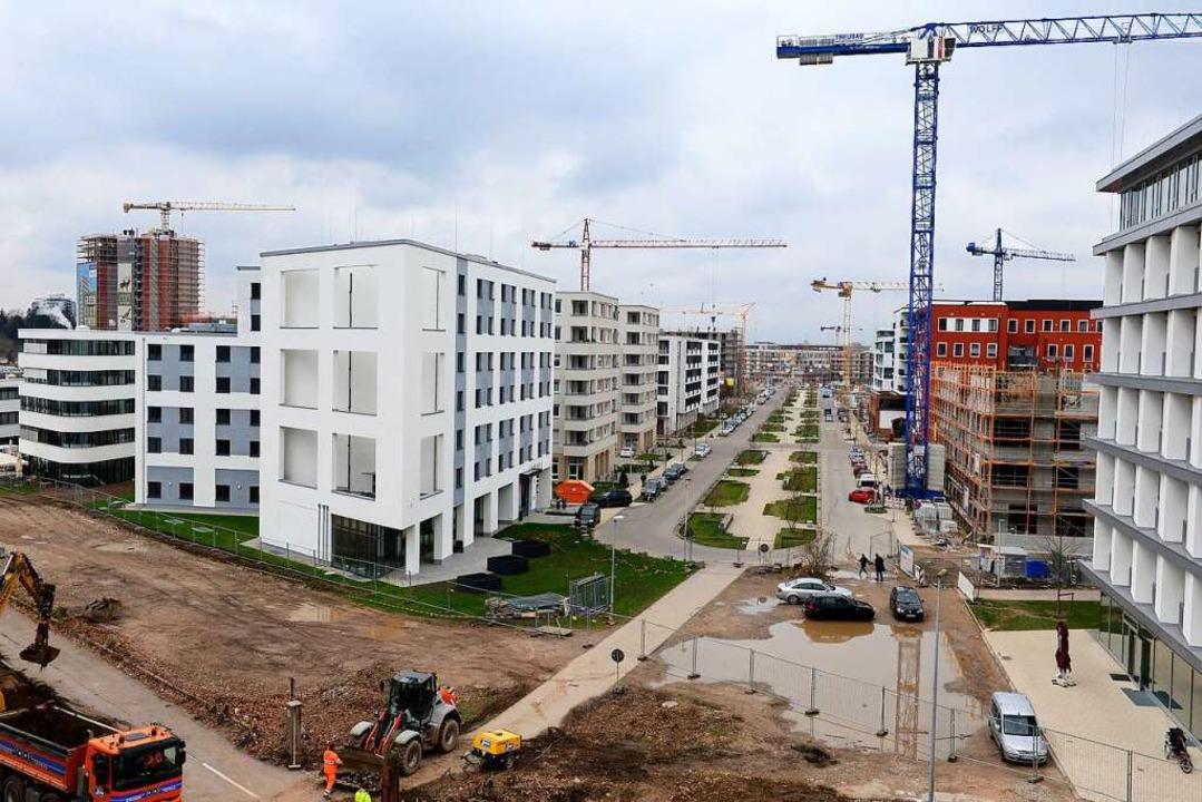 Es wächst und wächst und wächst: das einstige Freiburger Güterbahngelände.  | Foto: Ingo Schneider