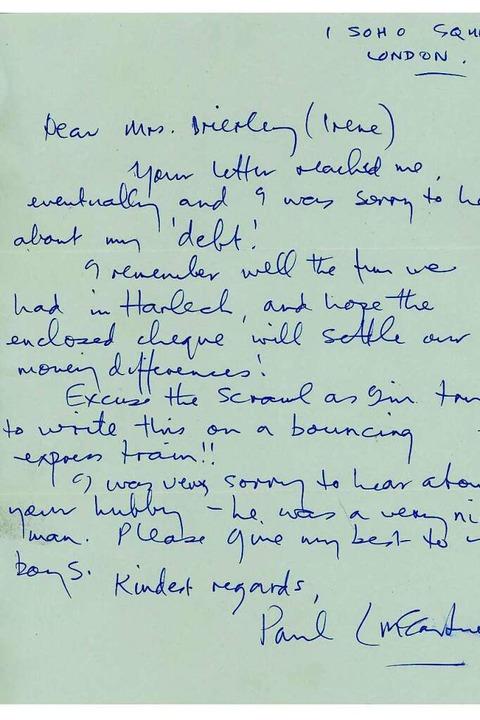 Ein Brief von Paul McCartney    Foto: Tracks Ltd (dpa)