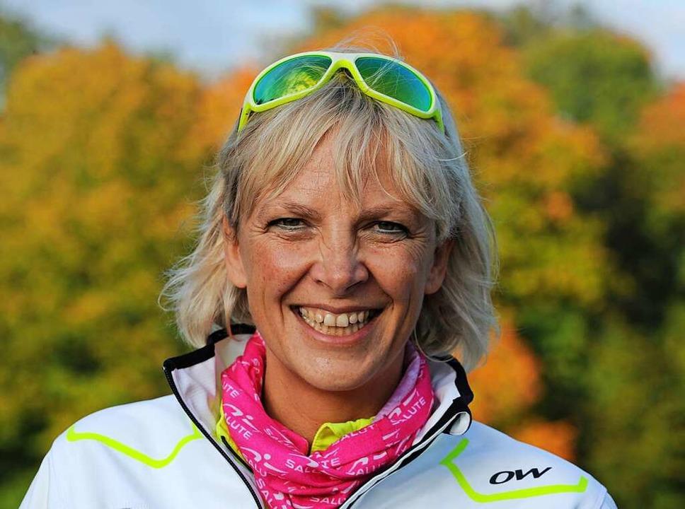 """Man kann Sport auch mit Freude ...0;, sagt Master-Trainerin Anke Faller.    Foto: Patrick Seeger"