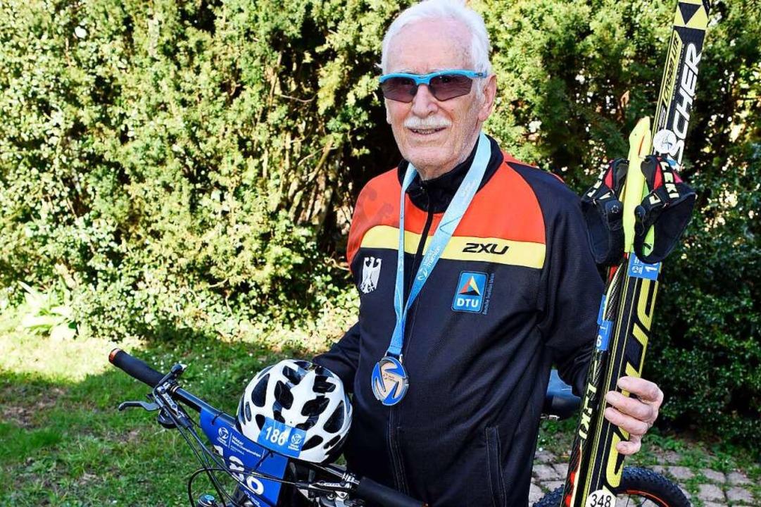 Günter Birnbaum ist Vizeweltmeister im Wintertriathlon in seiner Altersklasse.  | Foto: Thomas Kunz