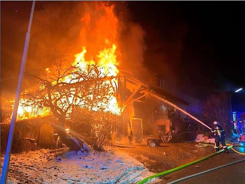 Der Brand brach in der Nacht zum 16. Februar aus.  | Foto: Feuerwehr Schopfheim