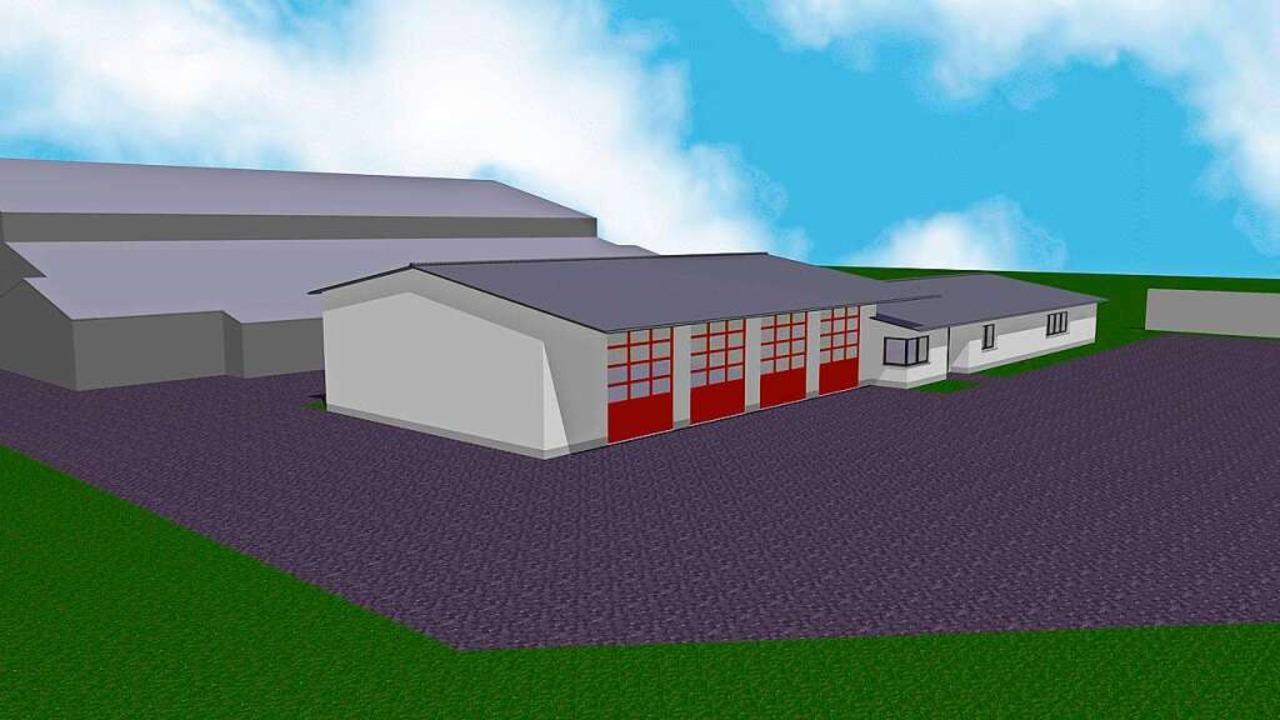 So könnte das neue Feuerwehrhaus, das ...enberghalle entstehen soll,  aussehen.    Foto: Planungsbüro Mathis + Jägle