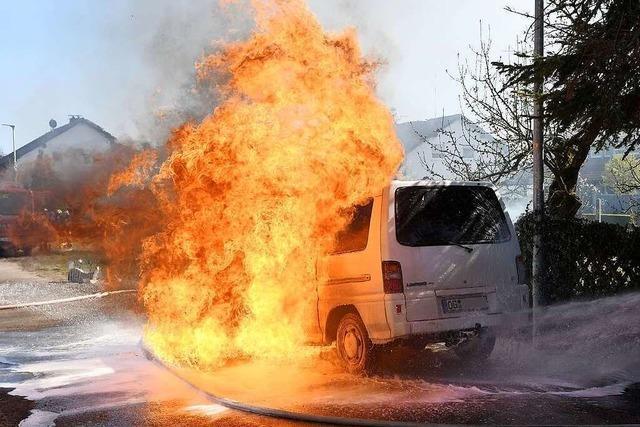 Kleinbus geht in Schwanau in Flammen auf