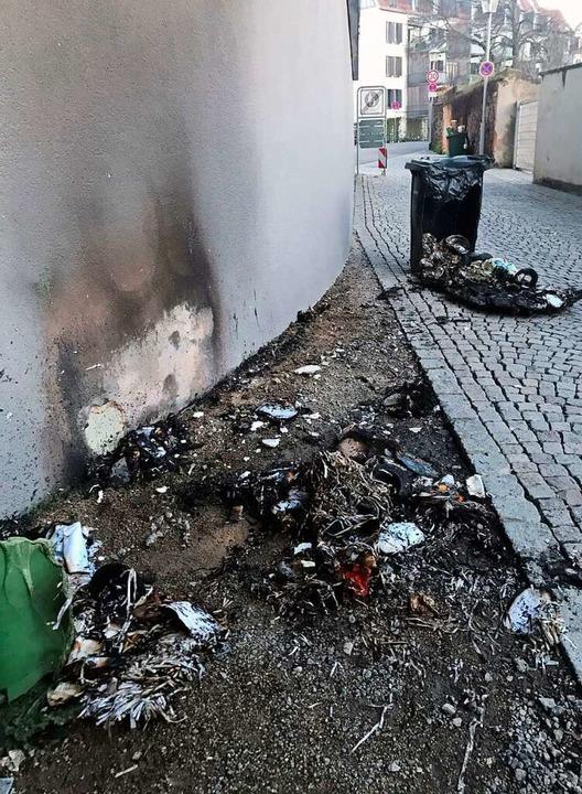 Brennende Mülltonnen in der Kittelgasse  | Foto: Wolfgang Achnitz
