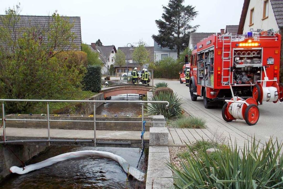 Die Denzlinger Feuerwehr hat am Mittwo...i Ölsperren auf der Glotter errichtet.  | Foto: Feuerwehr Denzlingen