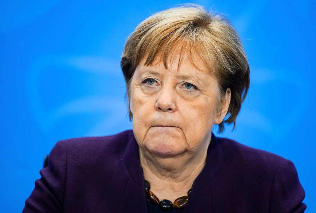 Bundeskanzlerin Angela Merkel (CDU) na...m Bund-Länder-Treffen zur Corona-Krise    Foto: Bernd von Jutrczenka (dpa)