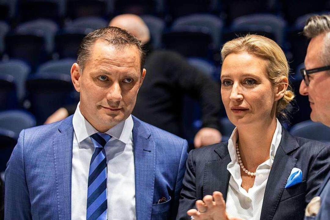 Parteipromis der AfD: Tino Chrupalla und Alice Weidel   | Foto: Christian Thiel via www.imago-images.de