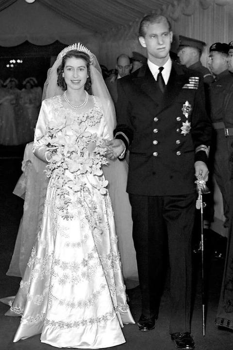 1947 heirateten Elisabeth und Philip.  | Foto: Pa (dpa)