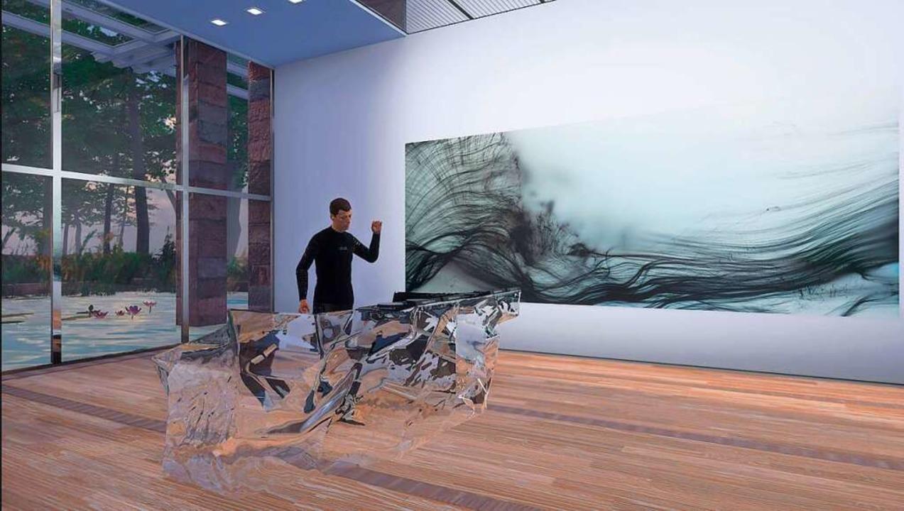 Der Avatar von DJ Dixon vor einem Werk von Wolfgang Tillmanns  | Foto: Visualisierung Courtesy Fondation Beyeler/Studio Wolfgang Tillmans