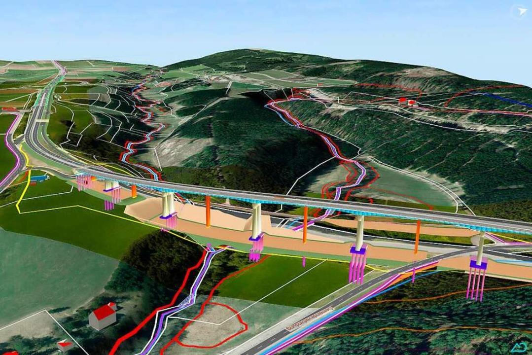 Das Modell für den Bau der zweiten Gauchachtalbrücke    Foto: Regierungspräsidium Freiburg