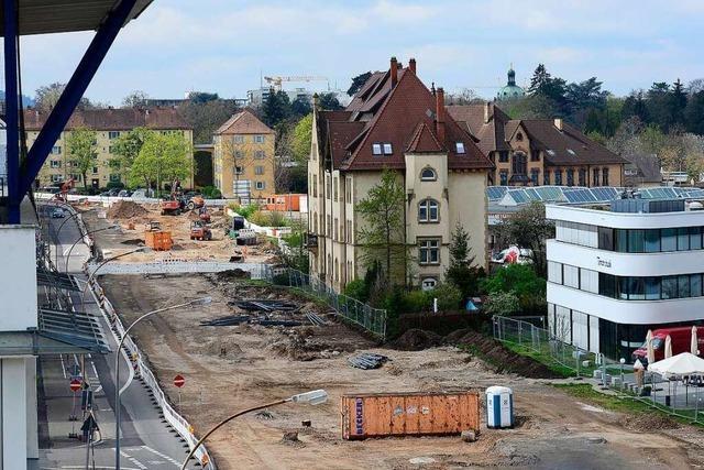 Der Umbau der Waldkircher Straße in Freiburg zur Tram-Trasse schreitet voran