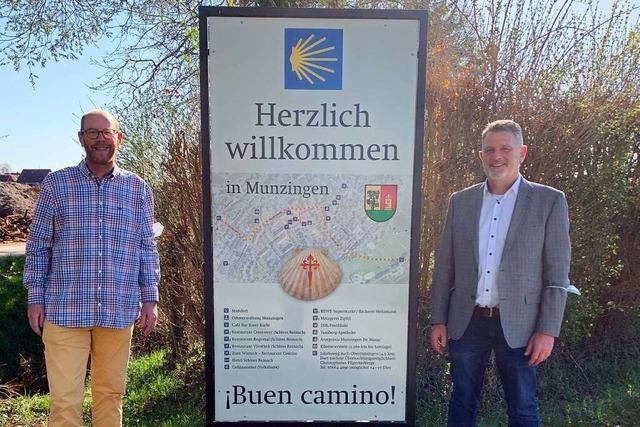 Freiburg-Munzingen grüßt die Pilger auf dem Jakobsweg