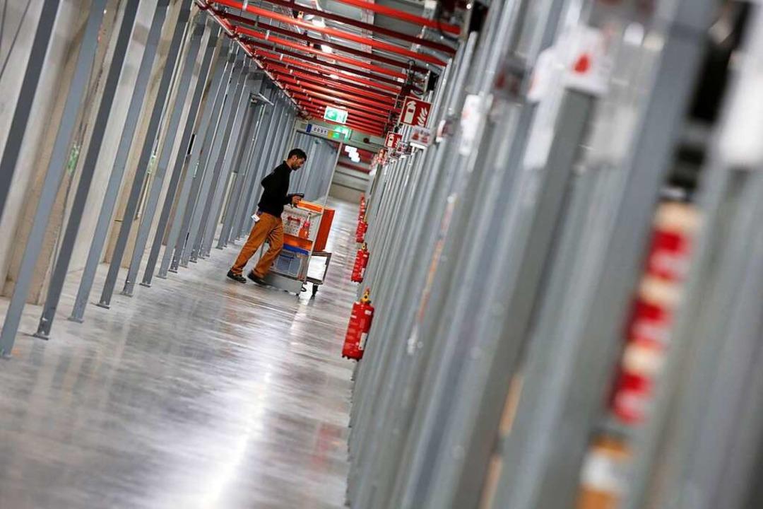 Im Zalando-Logistikzentrum auf dem Lah...zareal arbeiten rund 1300 Angestellte.  | Foto: Christoph Breithaupt
