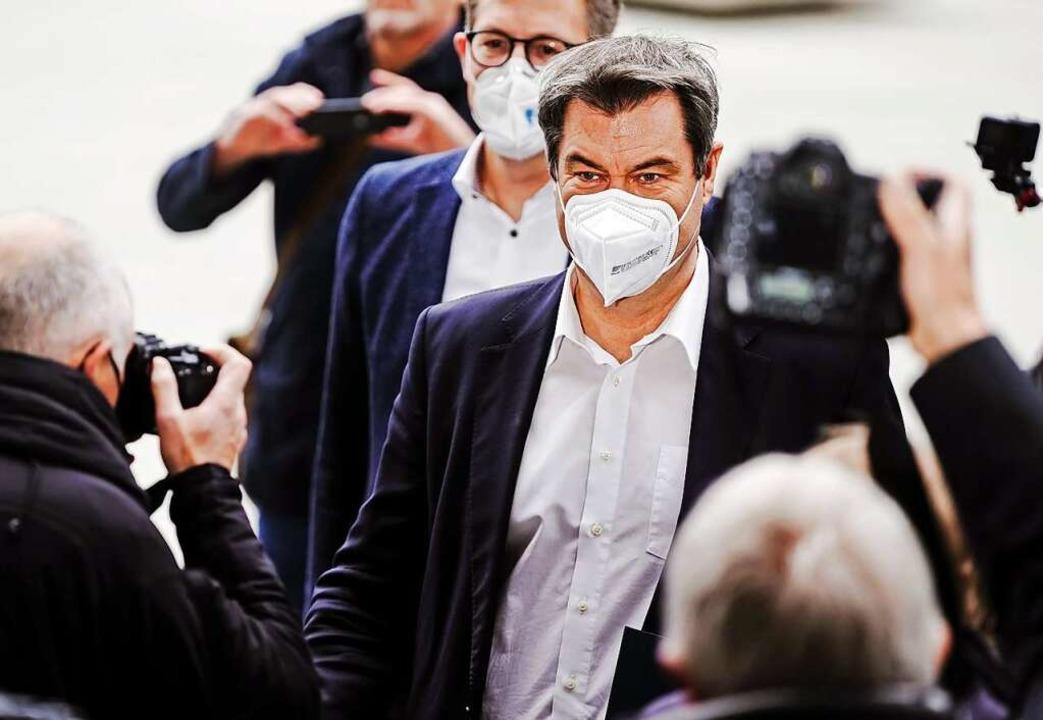 Markus Söder wird vorgeworfen, die Deb...zlerkandidatur in die Länge zu ziehen.  | Foto: Kay Nietfeld (dpa)