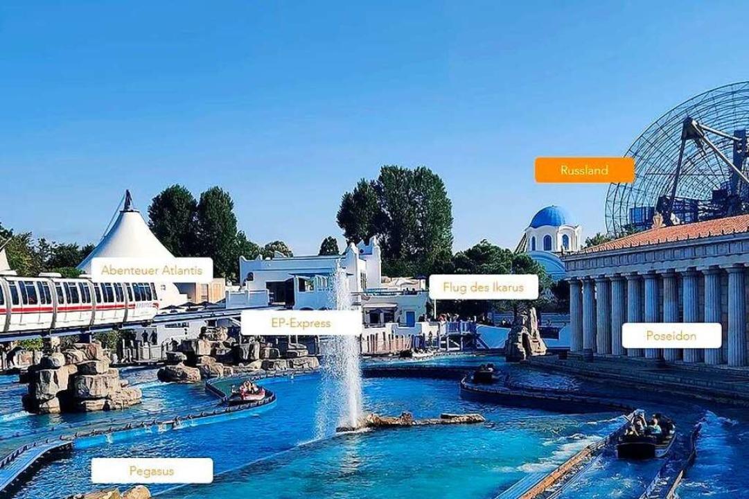 Die Griechenland-Themenwelt mit den ve...tton (orange), der nach Russland führt  | Foto: Dora Schöls