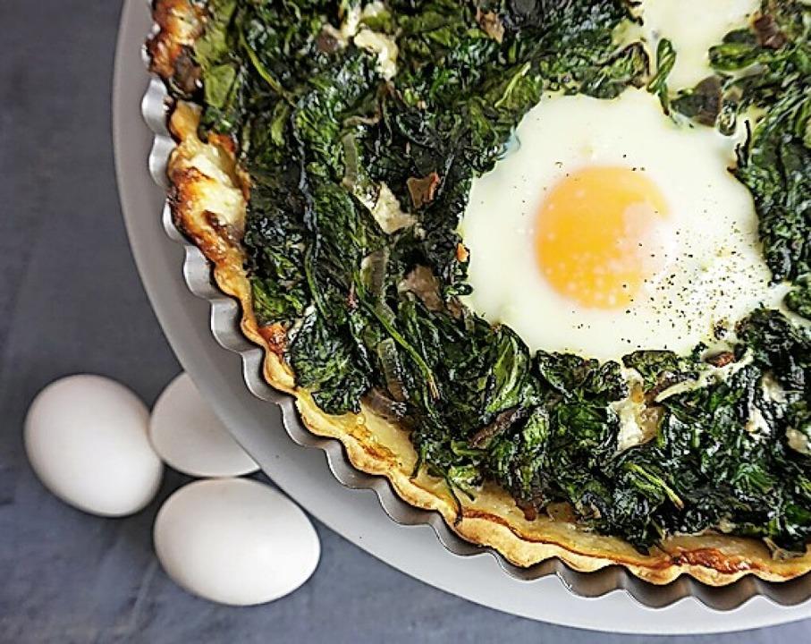 Lecker: Tarte mit Spinat und Ei  | Foto: Doreen Hassek (dpa)