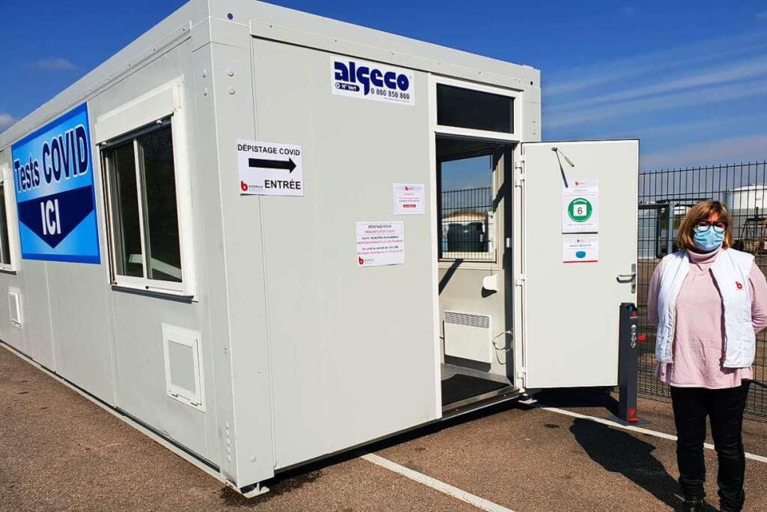 Das Testcenter am  Palmrain  ist in einem Container untergebracht.  | Foto: Kaufmann-Spachtholz