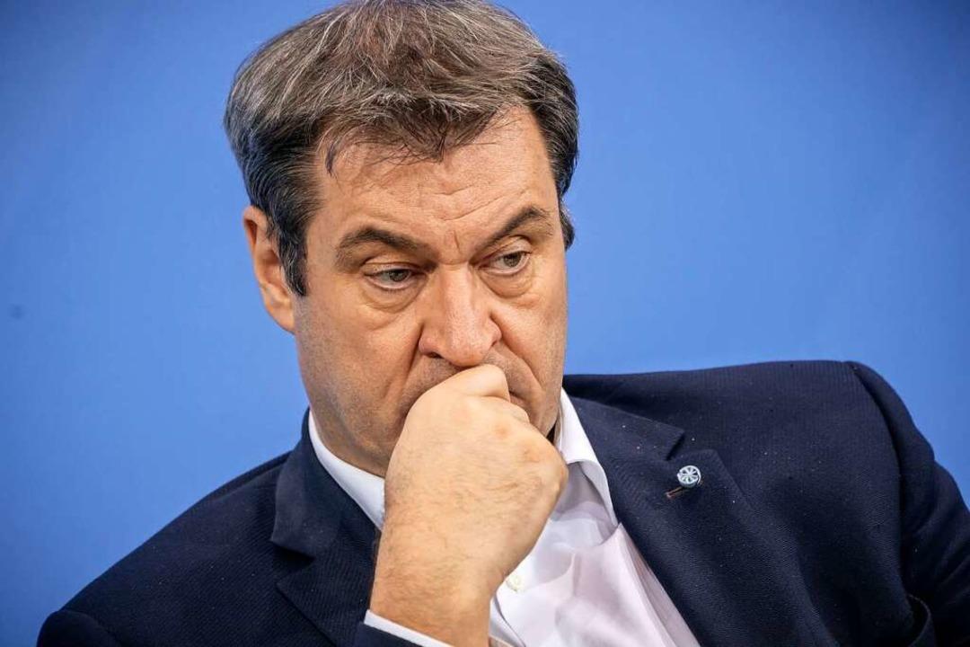 Aus der Traum vom Kanzleramt: Markus S...iert das Votum für Laschet aus Berlin.    Foto: Michael Kappeler (dpa)