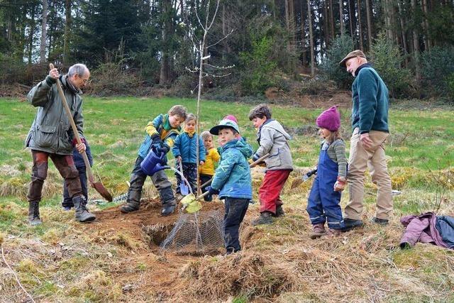 Kinder in Freiburg-Kappel pflanzen Apfel- und Birnbäume