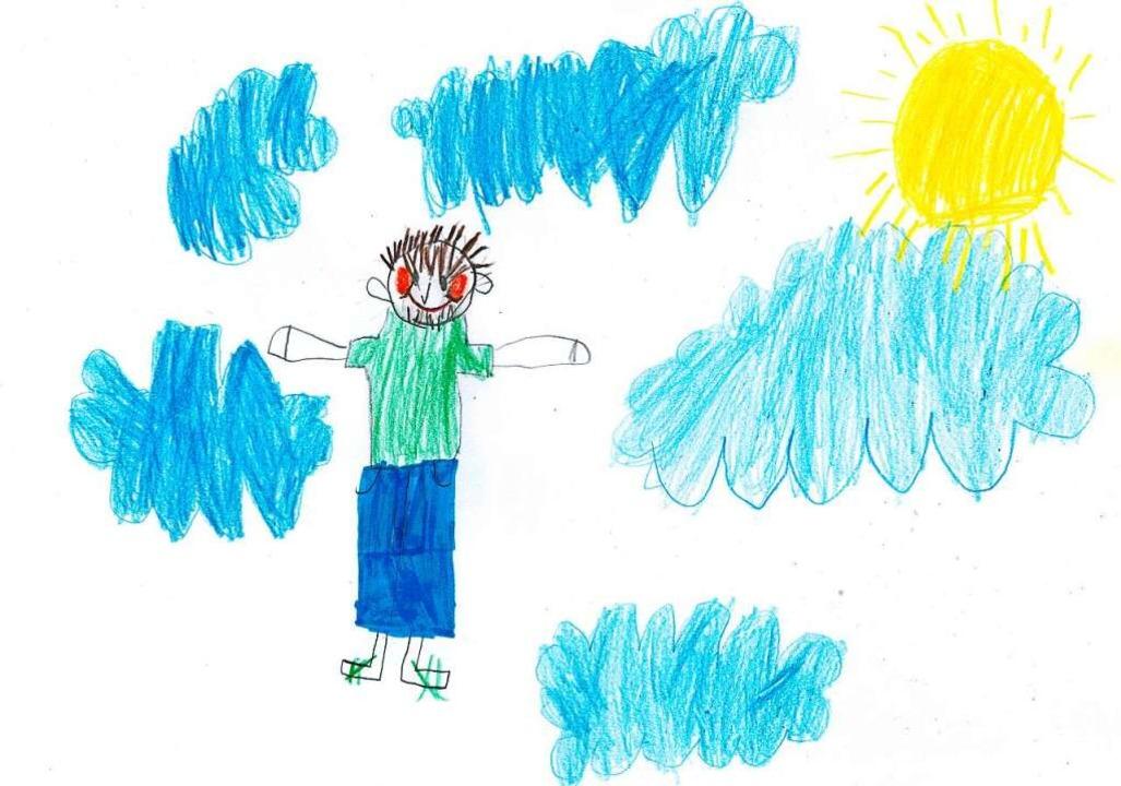 Ida malte Opa im Himmel – samt s...rkenstock-Sandalen, die er immer trug.  | Foto: Privat