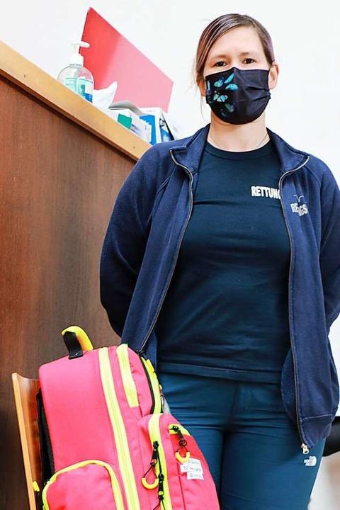 Hüterin der Halle: Dana Hege steht ber...alls nach der Impfung Hilfe nötig ist.    Foto: Claudia Müller
