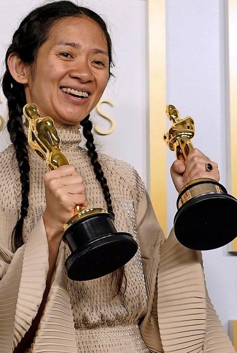 Mit weniger Glamour, dafür so divers w...e Regie und Film gingen an Chloé Zhao.  | Foto: CHRIS PIZZELLO (AFP)