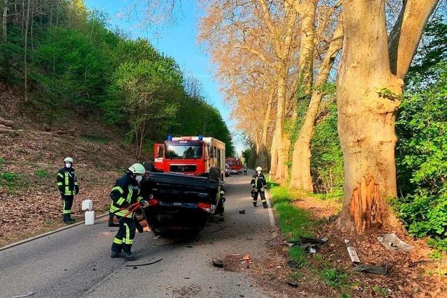 Auto prallt bei Waldkirch gegen Baum und überschlägt sich