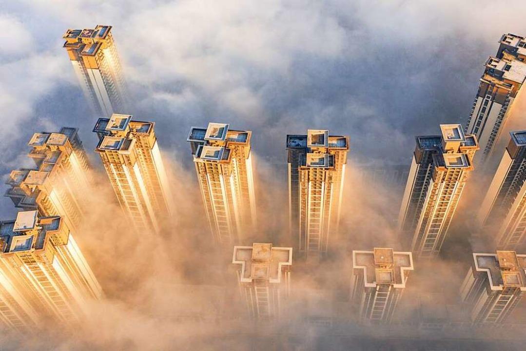 """Wolkenkratzer in der High-Tech-Metropo...von """"Big Data"""" stattfindet    Foto: ---"""