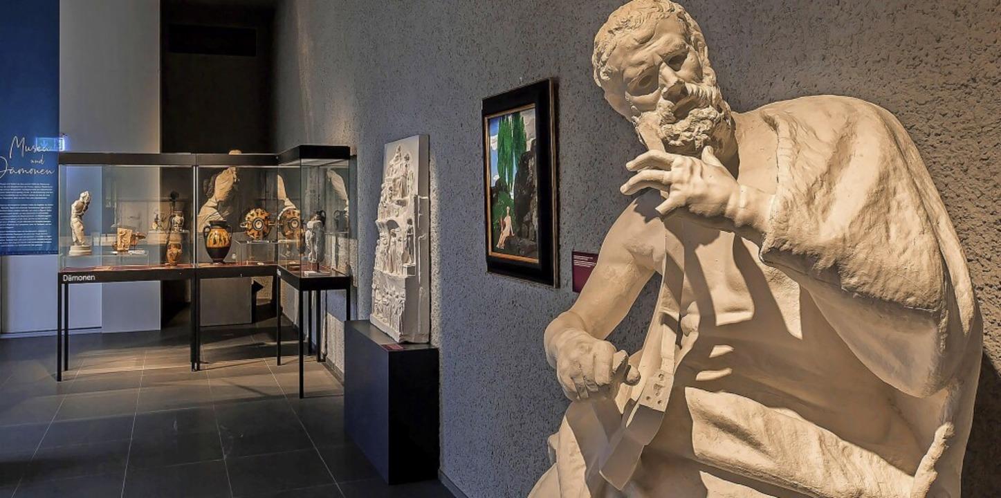 Ausstellungsansicht in Basel – u...mit Kopf der Göttin Hathor aus Ägypten  | Foto: Ruedi Habegger, Antikenmuseum Basel und Sammlung Ludwig