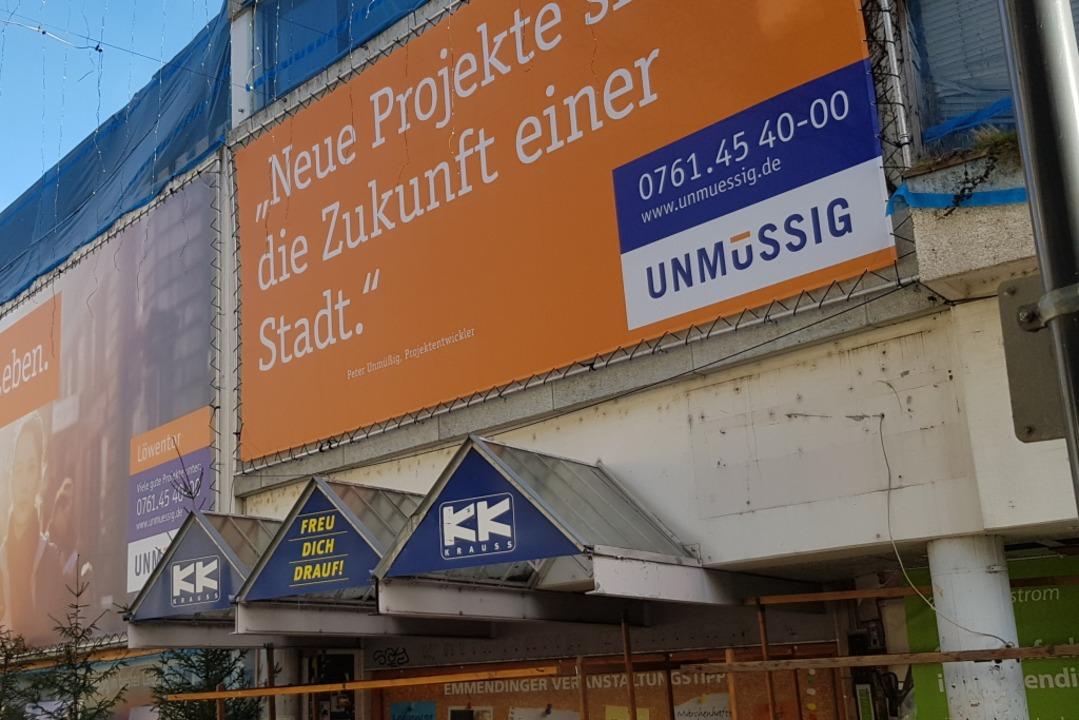 Das  Löwen-Tor des Investors Unmüssig ...rühere  Kaufhaus Krauss wiederbeleben.  | Foto: Gerhard Walser