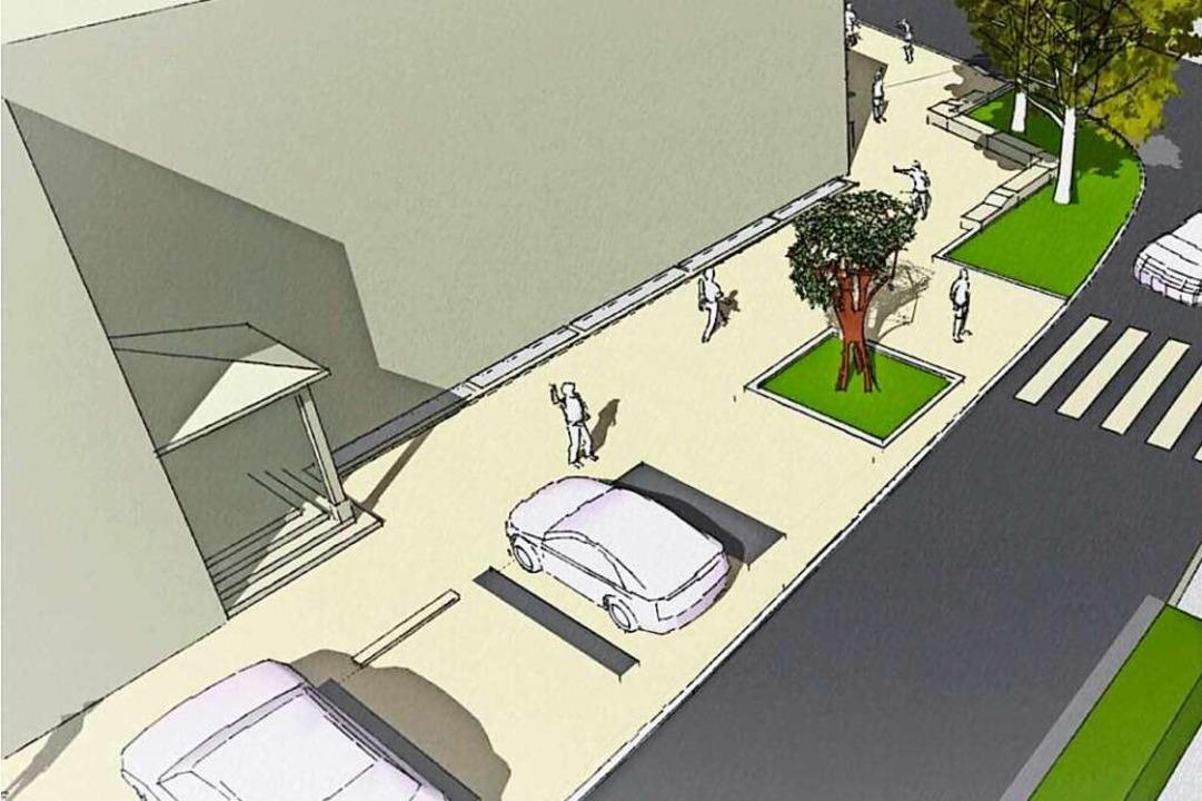 Die sechs schrägen Parkplätze vor der ...sieben senkrechten Parkplätzen werden.    Foto: Rapp Regioplan/Baldauf Architekten