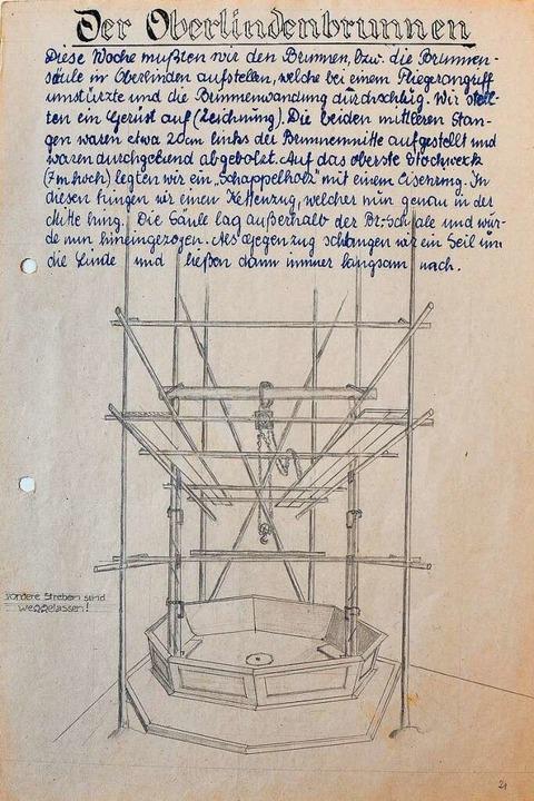 Zum Niederknien schön: die Seite aus P..., die die Brunnenreparatur beschreibt.    Foto: Repro: Ingo Schneider