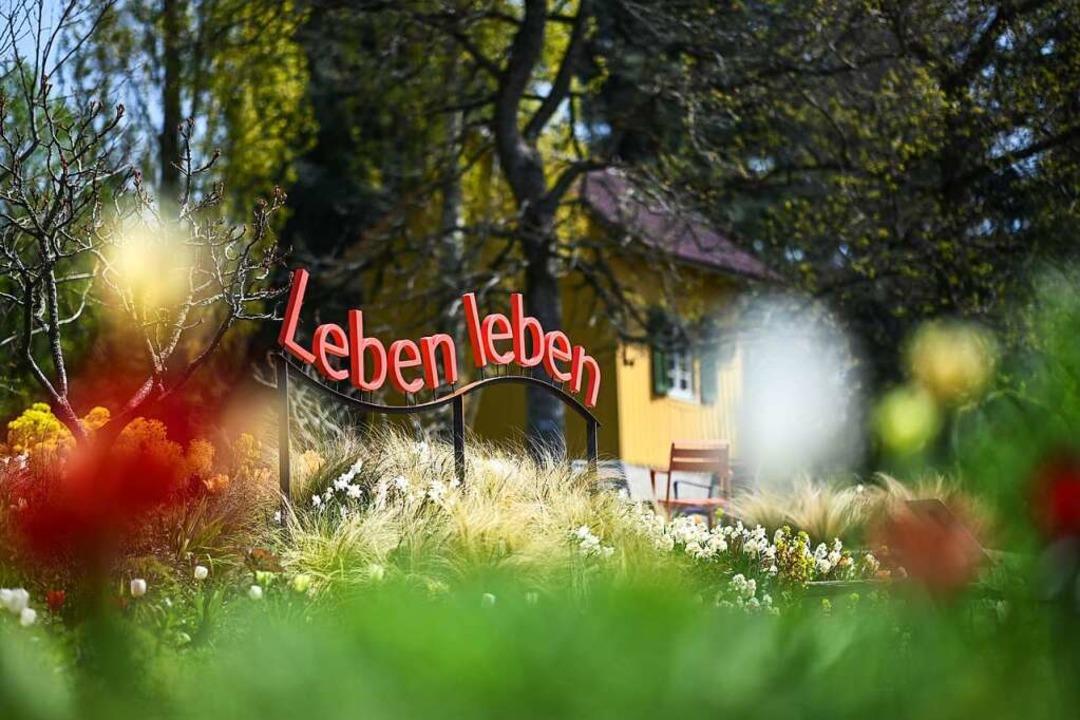 Auf dem Gelände der Landesgartenschau ...zten Vorbereitungen für die Eröffnung.    Foto: Felix Kästle (dpa)