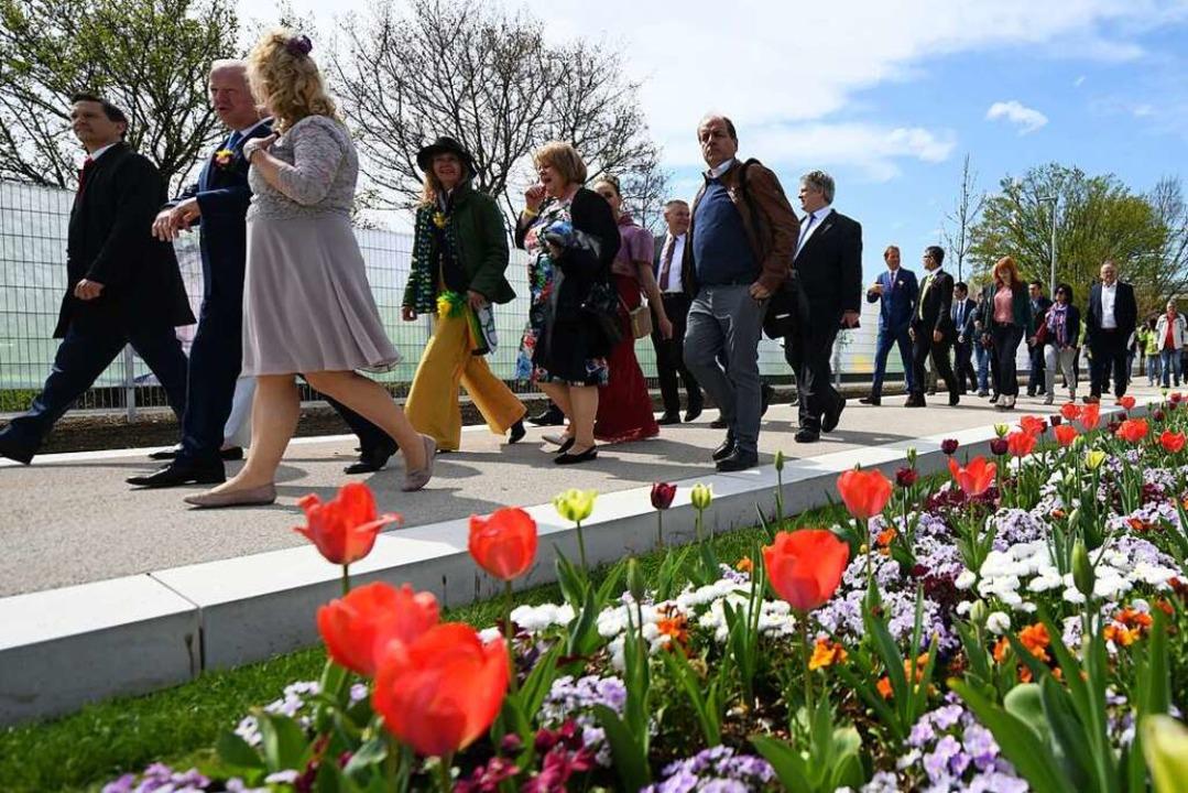Gäste laufen bei der Eröffnung der Lan...18 in Lahr an einem Tulpenfeld vorbei.    Foto: Patrick Seeger