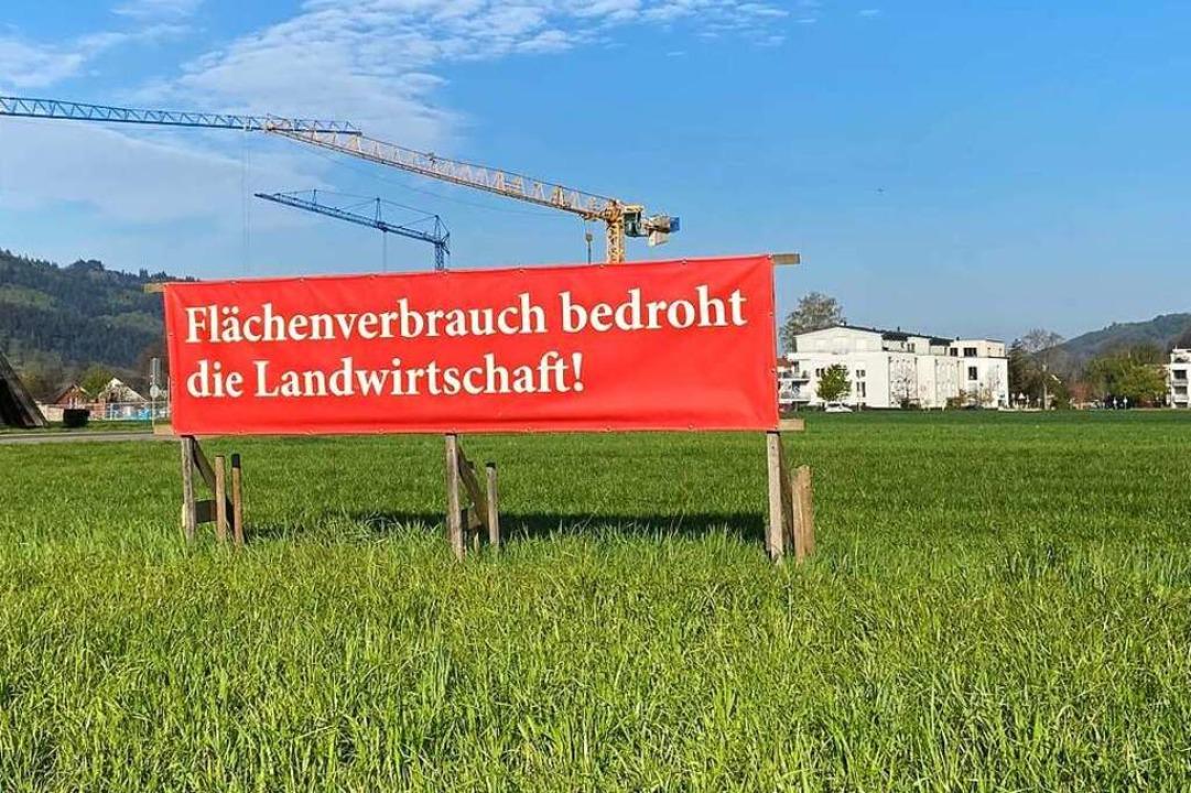 Wo gebaut wird, wird auch protestiert.... sich als Opfer des Flächenverbrauchs.  | Foto: Klaus Riexinger