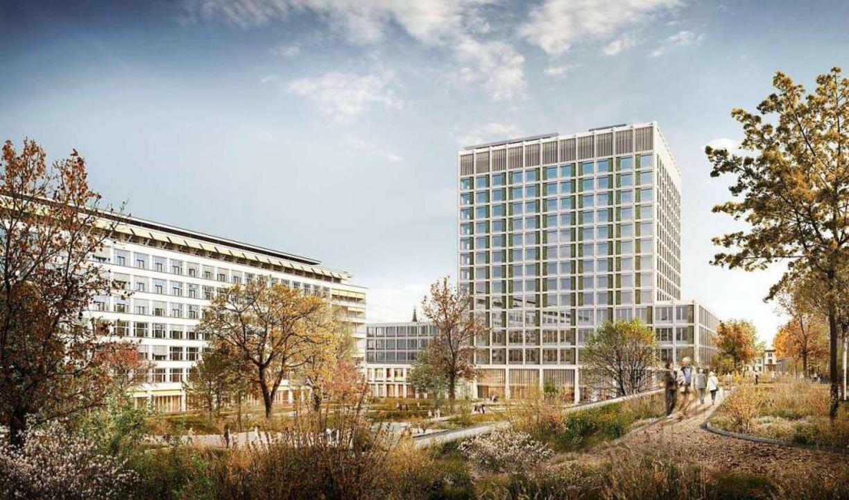 Nächstes Jahr soll der Bau des neuen K...em 60 Meter hohen Bettenturm beginnen.  | Foto: Uni Spital