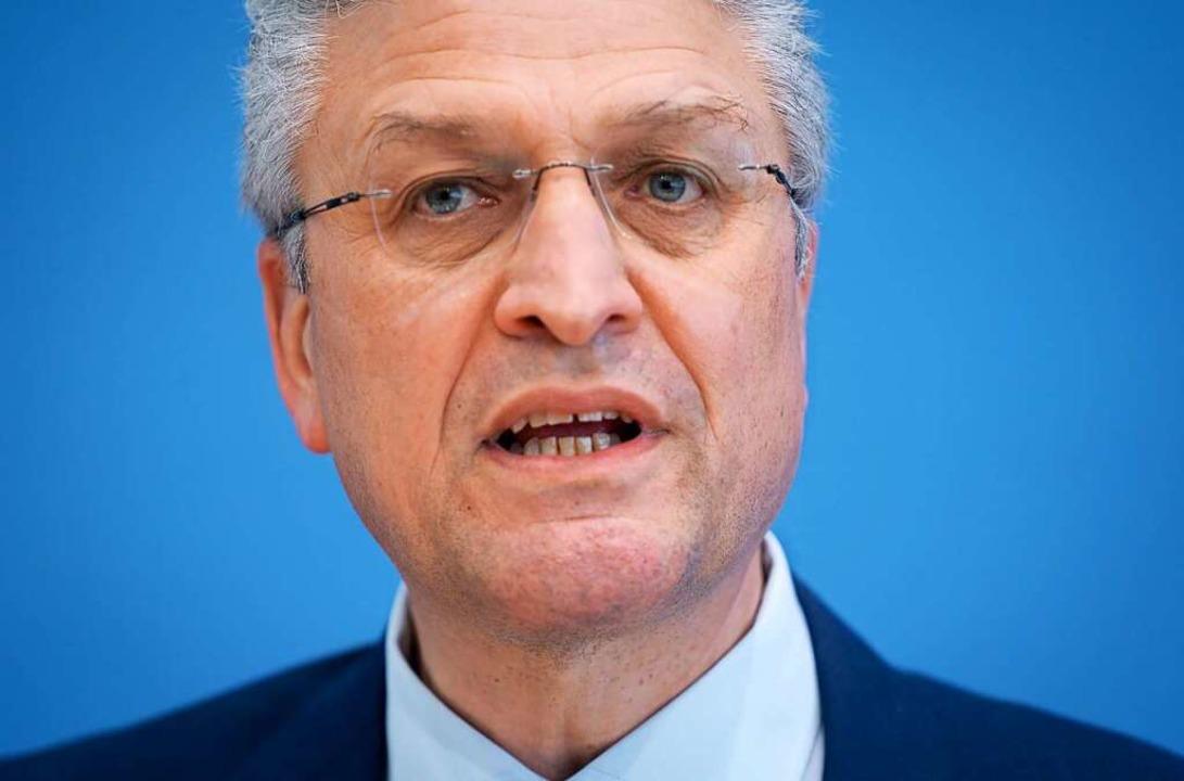 RKI-Präsident Lothar Wieler am Donnerstag in Berlin.  | Foto: Kay Nietfeld (dpa)