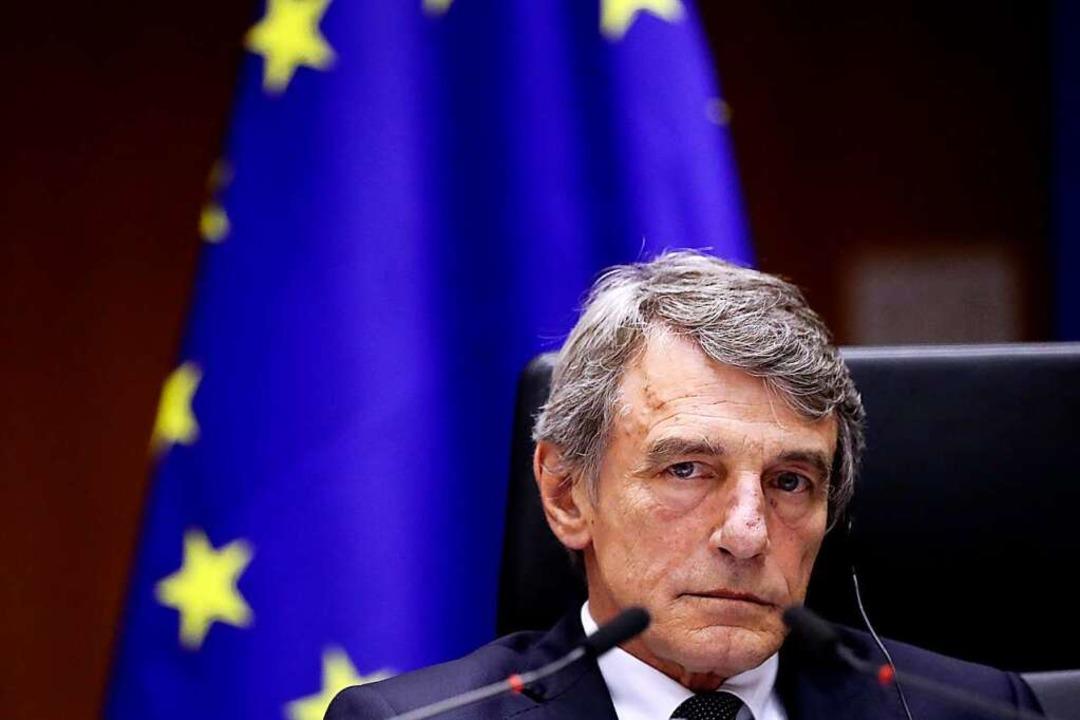 David Sassoli, Präsident des Europäisc...ussischen Außenministeriums betroffen.  | Foto: Yves Herman (dpa)