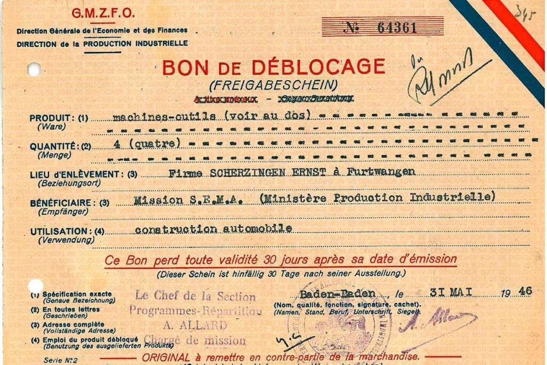 Aus dem Gründungsjahr des WVIB: Besche...en für den Automobilbau in Furtwangen.    Foto: WVIB