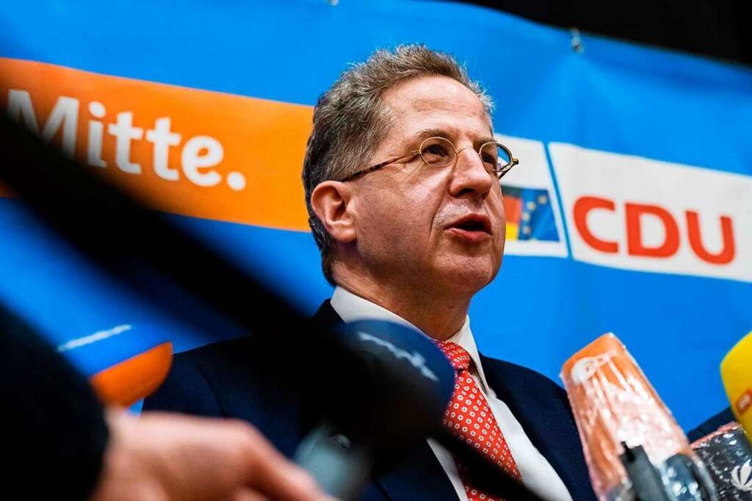 CDU-Rechtsaußen: Hans-Georg Maaßen nac...nierung am vergangenen Freitag in Suhl  | Foto: JENS SCHLUETER (AFP)