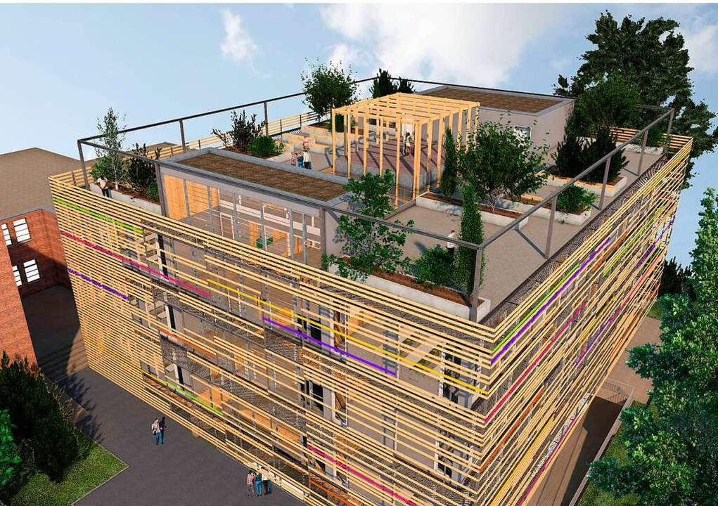 Der Erweiterungsbau zwischen Bestandsg...ge Erlebniswelt auf dem Dach erhalten.    Foto: Freie Christliche Schule