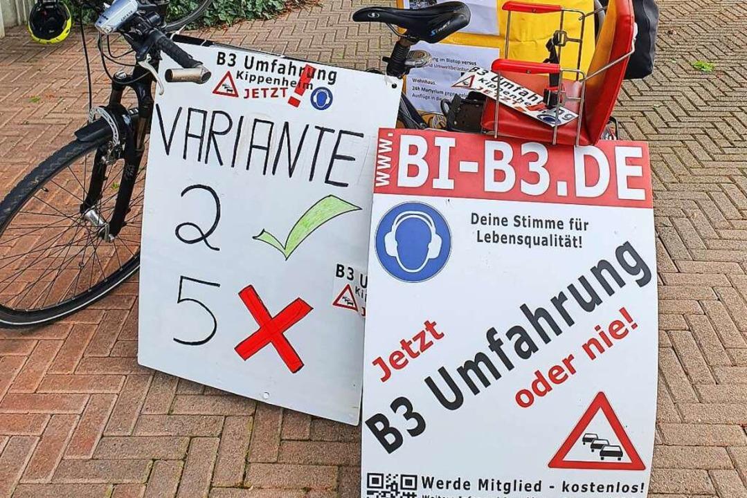 Die Kippenheimer Bürgerinitiative machte Werbung für Variante 2.  | Foto: Karl Kovacs