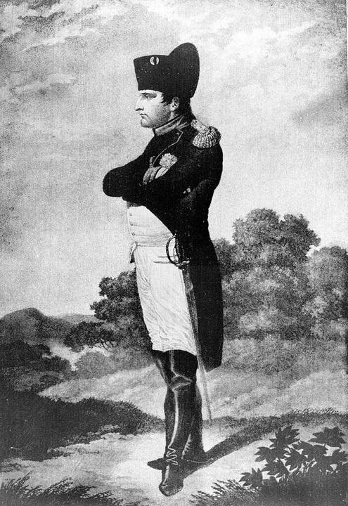 Der französische Kaiser Napoleon I. in...atierten Stich aus der Zeit Napoleons.  | Foto: -- (dpa)