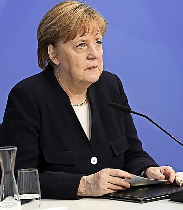 Rede vor virtuellem  Publikum: Kanzlerin Merkel in Den Haag    Foto: Annegret Hilse (dpa)