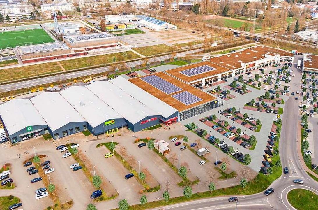 Im Fachmarktzentrum will Lidl neu baue...dnen. So könnte es dort dann aussehen.    Foto: Lidl