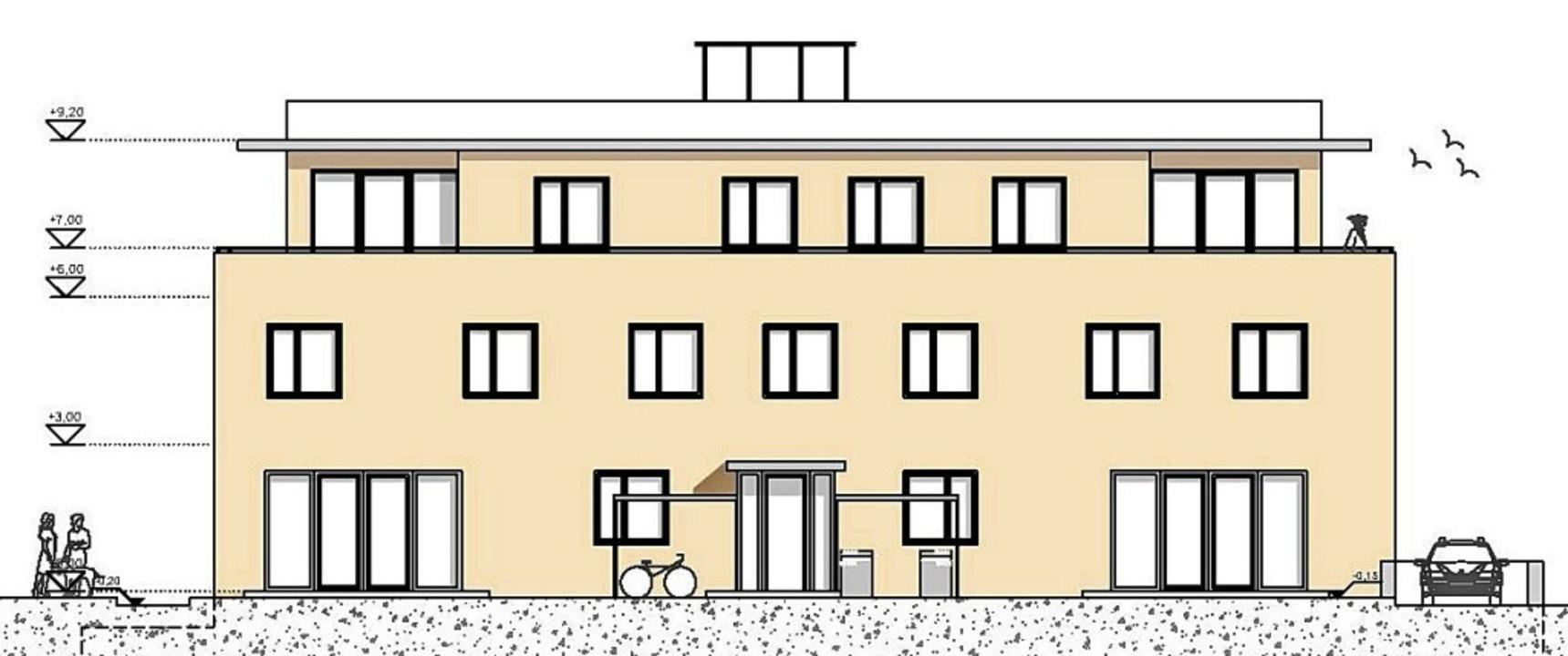 So soll das Mehrfamilienhaus der Baugruppe einmal aussehen.    Foto: Architekturbüro Hanse