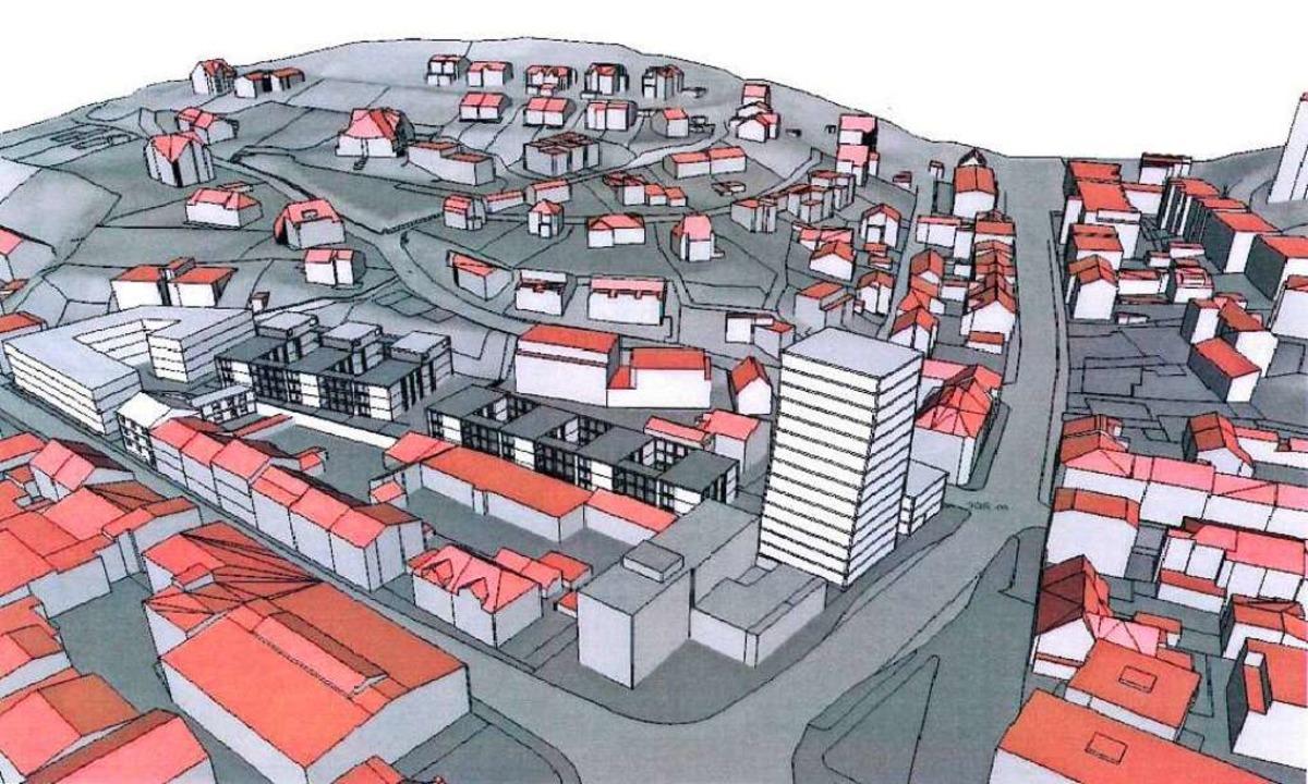 Das neue Baugebiet am Engelplatz  in einer 3-D-Animation der Stadt  | Foto: Stadt Lörrach