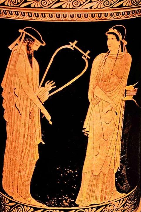 Sappho mit ihrem Dichterkollegen Alkai...or Christus) aus Agrigent auf Sizilien  | Foto: imago stock&people