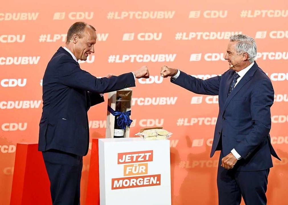 Friedrich Merz war als Redner auf dem Parteitag zu Gast.  | Foto: Bernd Weissbrod (dpa)
