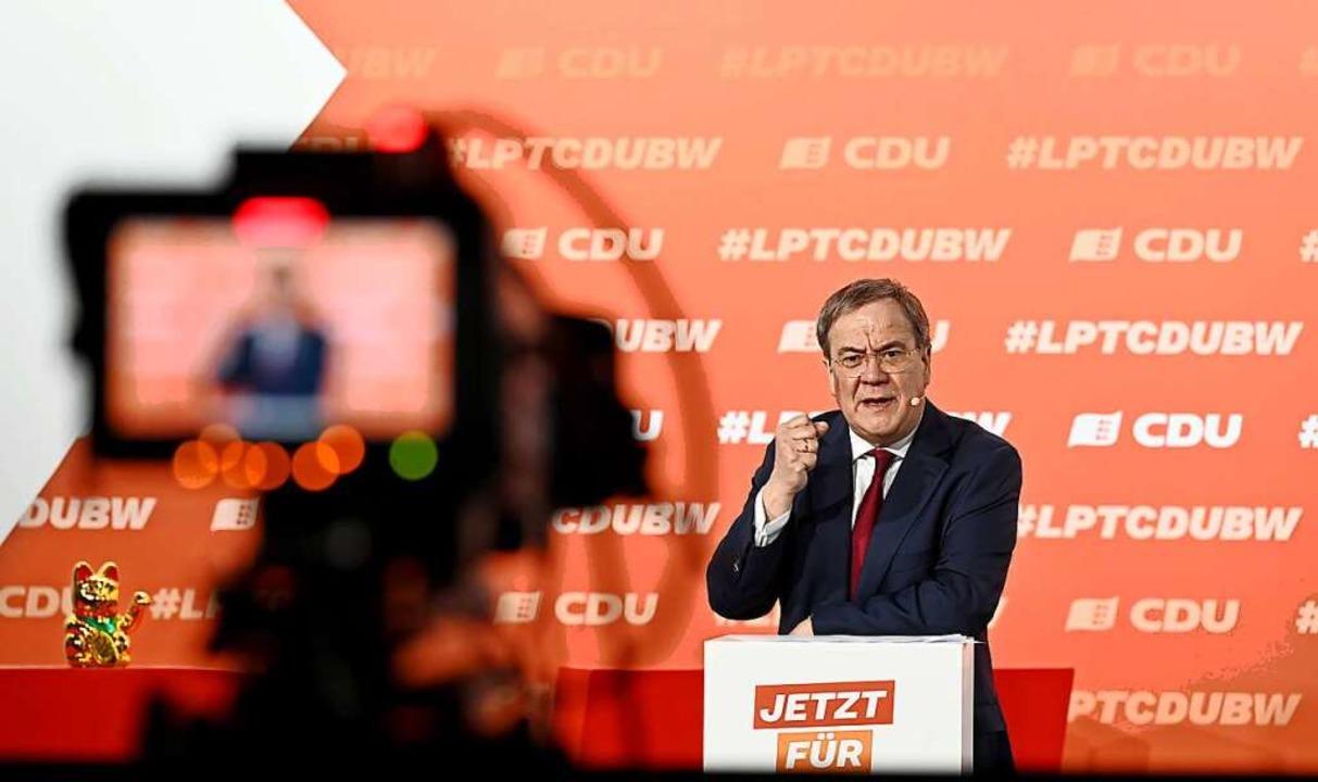 Auch CDU-Kanzlerkandidat sprach auf dem Parteitag.  | Foto: Bernd Weissbrod (dpa)